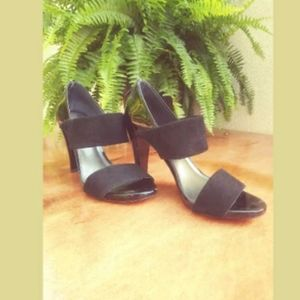 TALBOTS Black High Heel Sandals, Patent and Suede